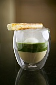 Molecular gastronomy: egg in glass, toast, nettle spinach, celery puree