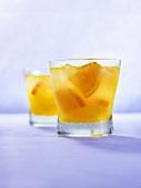 Two Malibu mango cocktails with rum
