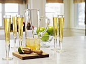 Apple & ginger punch in glasses & glass jug (Christmas)