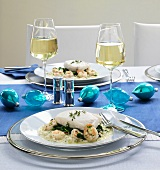 Halibut fillet with prawns, spinach, rice (Christmas)