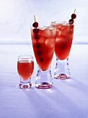 Raspberry drinks with raspberry skewers and ice cubes