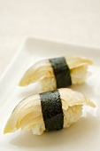 Nigiri sushi made with mackerel (saba)