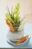 Raw vegetable sticks with herb quark dip