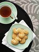 Piped biscuits with tea