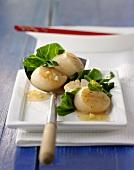 Fried scallops with gai lan