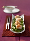 Steamed lychees stuffed with prawns