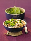 Mince with glass noodles and spinach