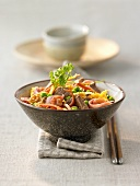 Noodles with meat, ham and shrimps
