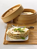 Steamed Chinese pancakes with steaming basket