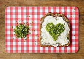 Buttered wholemeal bread with a heart of chives