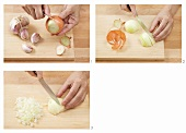 Peeling and dicing an onion