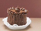 Chocolate cake on doily