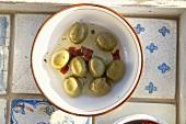 Green olives pickled in oil