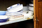 Crockery in a kitchen cupboard
