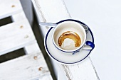 Espresso cup with dried coffee dregs