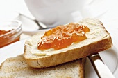 Buttered toast with marmalade