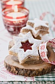 Jam biscuit and cinnamon stars for Christmas
