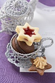 Assorted Christmas biscuits in silver cup
