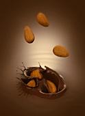 Almonds falling into chocolate sauce