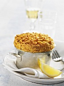 Carrot and tuna soufflé in soufflé dish
