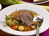 Beef broth with meat