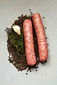 Ingredients for lentil soup with mettwurst sausages