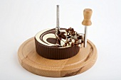 Chocolate roulette on girolle