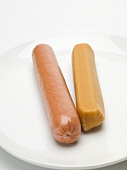 Two typical hot dog sausages