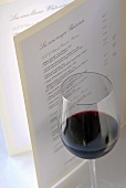 Glass of red wine and wine list (France)