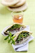Pita bread filled with meat and mint