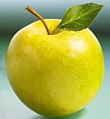 Golden Delicious Apfel mit Stiel und Blatt