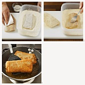 Breading and frying fish fillet