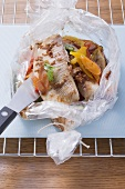 Nile perch in a roasting bag