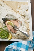 Salmon trout in salt and rosemary crust