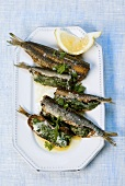 Sarde ripiene (Sardines stuffed with spinach, Italy)