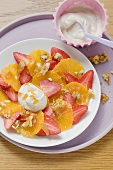 Strawberry and orange carpaccio with walnut brittle