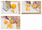 Grating orange peel, peeling an orange & cutting out segments