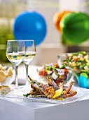 Surf and Turf, salads and wine for a party