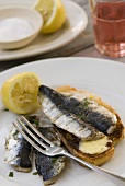 Sardines with buttered toast