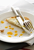 Remains of fried egg on toast on plate