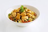 Chicken ragout on vegetable rice