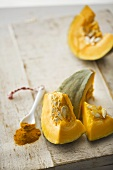 Pieces of squash and turmeric