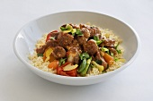 Lamb ragout on couscous and vegetables