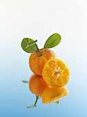 Whole and half mandarin orange with reflection