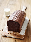 Chocolate loaf cake with chocolate buttercream icing