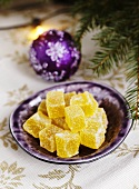Sugar-coated fruit jelly sweets for Christmas