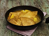 Crêpes Suzette in a frying pan
