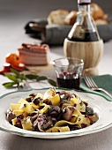 Pappardelle with chicken, olives and red wine sauce