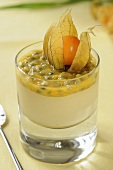 Banana cream with passion fruit and physalis