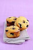Blueberry muffins on fabric napkin